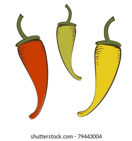 Colorful Peppers, Vector Illustration