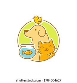 Colorful pets dog cat icon sticker