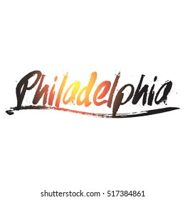 Colorful philadelphia hand drawing text vector