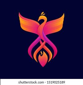 colorful phoenix fire logo design vector