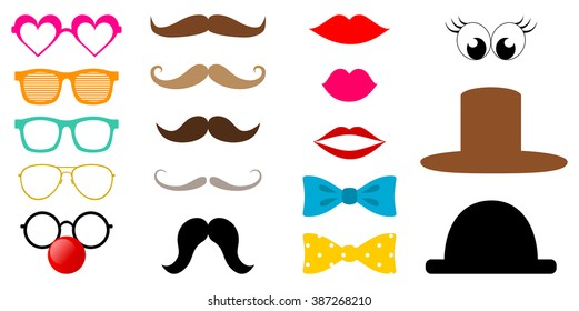 Colorful photo booth props icon set, glasses, red lips, mustache, bow tie, hat, clown nose... Collection of hipster style photo accessories. vector art image illustration, isolated on white background