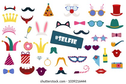 Colorful photo booth props set vector illustration. Collection of design elements with birthday party  items, hat, sunglasses, crown. Perfect for photobooth shooting