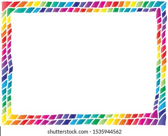 colorful photo frame consists of two lines of tiles arranged in diagonal way in bright rainbow colors