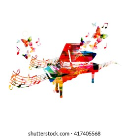 Colorful piano with butterflies