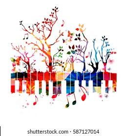 Colorful piano keyboard with trees and music notes. Music instrument background vector illustration. Design for poster, brochure, invitation, banner, flyer, concert and music festival