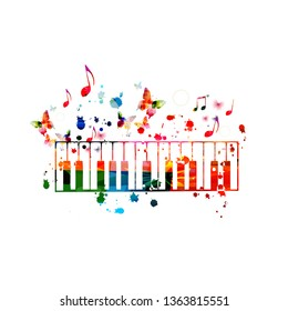 Colorful piano keys with music notes isolated vector illustration design. Music background. Piano keyboard poster with music notes, festival poster, live concert events, party flyer