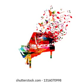 Colorful piano with music notes isolated vector illustration design. Music background. Music instrument poster with music notes, festival poster, live concert events, party flyer