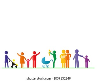 Colorful pictograms showing happy family