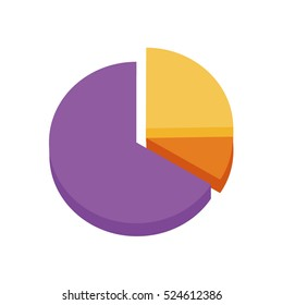 Colorful pie chart with 3 sections vector illustration icon