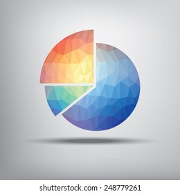 Colorful pie chart symbol in modern low polygonal shape suitable for infographics, business presentations, analysis reports. Eps10 vector illustration