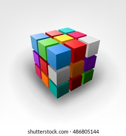 Colorful piece of cube Vector Illustration