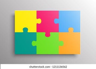 Colorful Pieces Background Puzzle. Jigsaw Banner. Vector Illustration Template. Puzzle Game, Mosaic Tiles. Puzzles Pieces Children Background. Children Puzzle. Horizontal format.