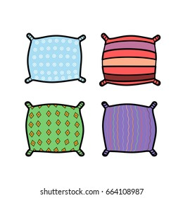 Colorful pillow icons, Vector flat design. Fall in love