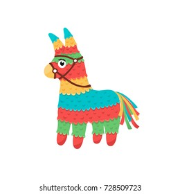 Colorful pinata isolated on white background. Mexcian traditional birthday toy.
