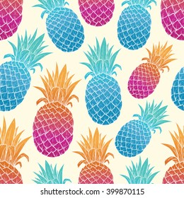 Colorful Pineapple With Seamless Pattern on Light Yellow Background