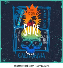 Colorful Pineapple shaped skull illustration with typography like Venice beach and Santa Monica and California / Tone in tone Background with palm tree silhouettes