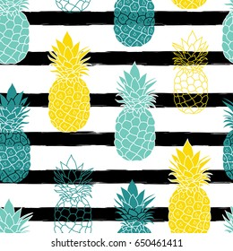 Colorful Pineapples On Black Stripes Vector Repeat Seamless Pattrern. great for fabric, packaging, wallpaper, invitations.