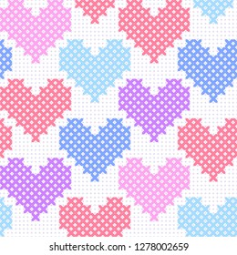 Colorful pink blue purple simple cute cross stitch hearts on white canvas seamless pattern, vector