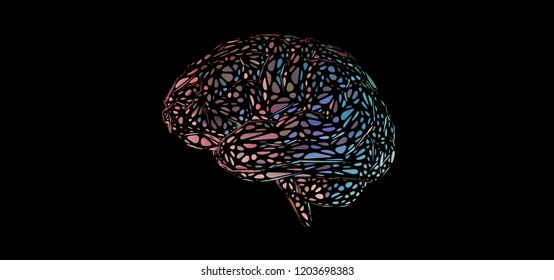 Colorful pink and blue stylized decoration human brain illustration isolated on black color banner background
