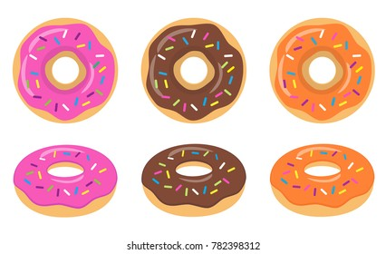 Colorful pink, chocolate, orange glazed donut set on white background. The view from the top and from the side. Vector illustration