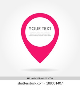Colorful pink marker or pointer icon with space for text