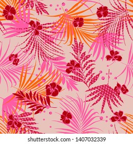 Colorful pink mood summer tropical seamless pattern with flowers and houndstooth fill-in leaves Houndstooth background. Vector illustration on nude pink design for all prints
