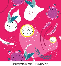 Colorful pink seamless background pattern Exotic tropical fruits Dragon fruit Pitaya Pitahaya slices Flowers Leaves Polka dots Abstract design elements Unique hand drawn design