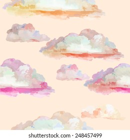 Colorful pink watercolor clouds. seamless background. Vector