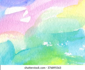 Colorful pink yellow green blue white violet watercolor hand draw paper texture decorative vector banner, Abstract wet brush paint wave card for greeting, invitation, template, print, wallpaper, web