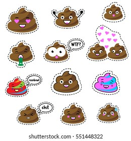 Colorful pins, patches, labels, stickers isolated on white. Funny turd, poop character. Design elements, icons, emoji, emoticon. Vector illustration