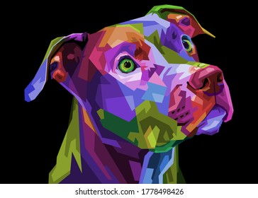 colorful pitbull terrier dog on pop art geometric .vector illustration