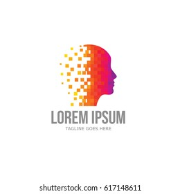 Colorful Pixel Head Logo / Creative Mind Vector / Digital Brain Logo