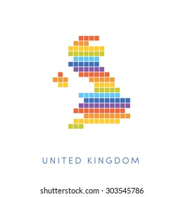 Colorful pixel map of United Kingdom. Vector frontiers of UK in colors of rainbow.