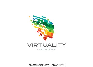 Colorful Pixel Squares Creative Head Mind Logo design vector template. Virtual reality Digital Life futuristic Logotype. Entertainment game play brain concept icon.