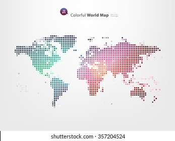 colorful pixels world map