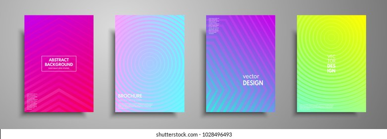 Colorful placard templates set with graphic geometric elements. Applicable for brochures, flyers, banners, covers, notebooks, book and magazine.