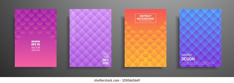 Colorful placard templates set with graphic geometric elements. Applicable for brochures, flyers, banners, covers, notebooks, book and magazine