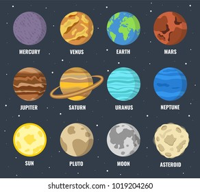 Colorful planets set. Vector illustration.