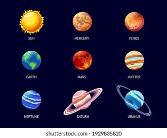 Colorful planets of solar system flat pictures set for web design. Cartoon Jupiter, Mars, Venus, Earth, Neptune, Mercury and sun isolated vector illustrations. Galaxy and astronomy concept