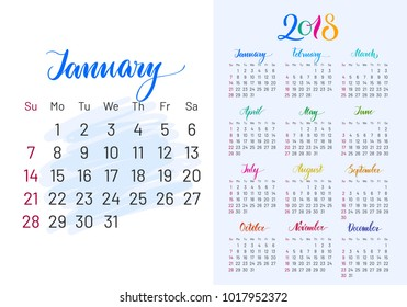 Colorful planner, 2018, January separately, white-blue background, lettering, artboard. Stylish annual calendar for modern people. Vector illustration of chart