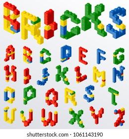 Colorful plastic block brick toys letters. Alphabet font typeface. Vector illustration.