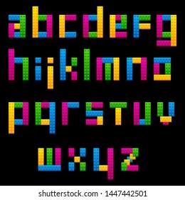 Colorful Plastic Bricks like a Lego Letter Alphabet kids education