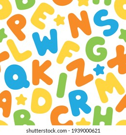 Colorful and playful English alphabet seamless pattern background. Back to school concept.