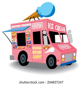Colorful and Playful Ice Cream Truck with Ice Cream cone on top