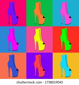 Colorful pole dance shoes on a colorful background. Vector illustration of exotic dancing platform. High heels pattern. Clubbing woman's strip shoes. Stripper shoes. Seamless pattern.