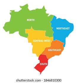 Farbige politische Landkarte Brasiliens. Staaten teilen sich nach Farbe in 5 Regionen . Einfache flache Vektorkarte mit Etiketten.