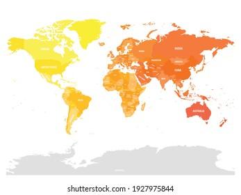 Farbige politische Landkarte der Welt. Unterschiedliche Farbtöne auf jedem Kontinent. Mit Ländernamen. Einfache flache Vektorkarte.