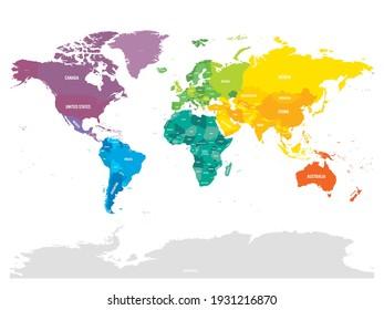 Colorido mapa político del mundo. Tonos diferentes de cada continente. Con etiquetas de nombre de país. Mapa simple de vector plano.