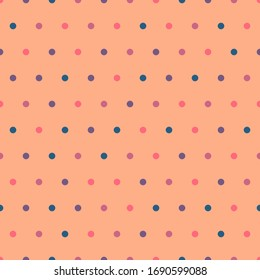 Colorful polka dot seamless pattern on peach orange background . Cute circles vector pattern in trendy vintage colors. Flat style. Minimalist, simple.