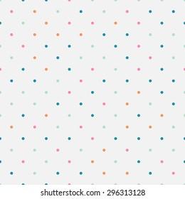 Colorful polka dot seamless pattern. Soft background.